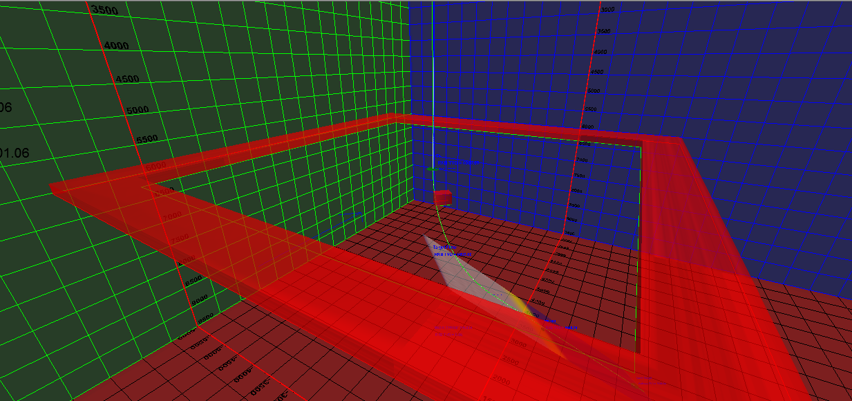 Lease lines and hard lines displayed in the 3D space.